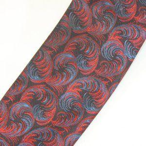 VTG Christian Dior Tie Blue & Red Feather on Dark
